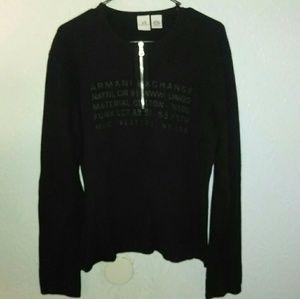 Mens Armani Exchange Sweater L Black Logo Zipper